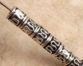 Antiqued Silver Mykonos Metal Barrel Spacer Bead 12-Pieces M158