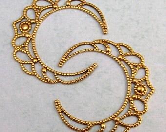 Brass Crescent Filigree Antique Gold 2 Pc. K88