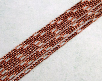 Antique Copper 2-MM Curb Chain With Elongated Link, Soldered 6 Ft. AC128