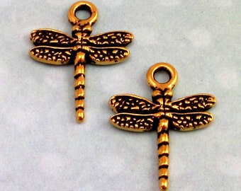 TierraCast Dragonfly Charm, Antique Gold 2 Pc. TG11