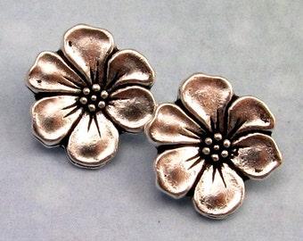 TierraCast Apple Blossom Button Antique Silver 2-Pc. TS27