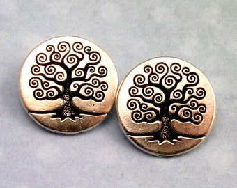 TierraCast Tree Of Life Button Antique Silver 2-Pc. TS46