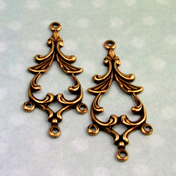 Antique gold connector rhoda drop trinity brass pc by