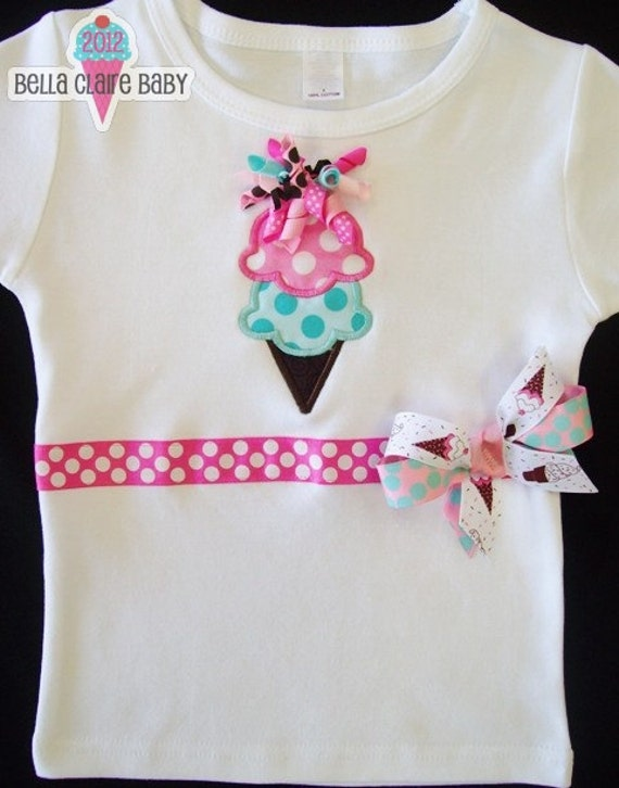 Ready to ship size 2 Ice Cream Sweets applique short sleeved  shirt for girl toddler