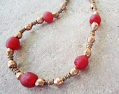 SALE, Red African Glass & Copper Necklace