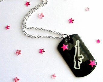 Black Gun Necklace, Ak 47 Dog Tag, Pink Stars, DogTag Jewelry