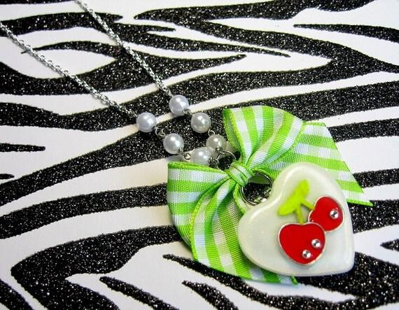 Red Cherry Necklace, Rockabilly Kawaii, Bow, Glitter Hearts