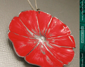 Bright Red Blossom -- Upcycled Tin Necklace