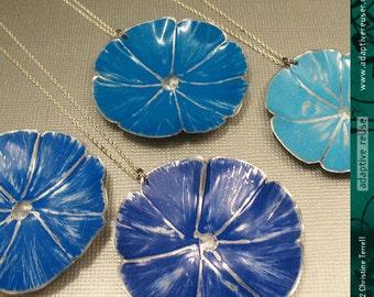 Sky Blue Morning Glory -- Upcycled Tin Necklace