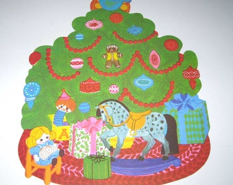 Vintage Christmas Die Cut Christmas Tree with Ornaments and Toys
