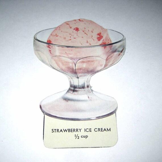 Vintage Food or Nutrition Die Cut Cardboard School Decoration of Strawberry Ice Cream in a Dish