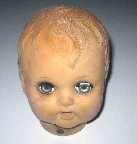 Creepy Vintage Baby Doll Head with Sleepy Eyes