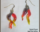 MADE TO ORDER - Chihuly Inspired Glass Lampwork Chandelier squiggle Earrings - Orange and Red