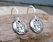 OWL Earrings - Tiny Sterling Silver Owl Charm Earrings - Owl Jewelry by HANNI