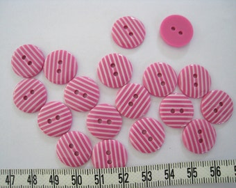 30 pcs of   Stripe  Button in Pink and White  - 15mm