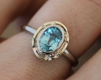 Blue Zircon Genuine Gemstone, 14k Palladium White gold and 14k Yellow Gold, Art Deco inspired Mixed Metal Ring, Made In Your Size