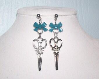 Teal Blue Bow Scissor Earrings