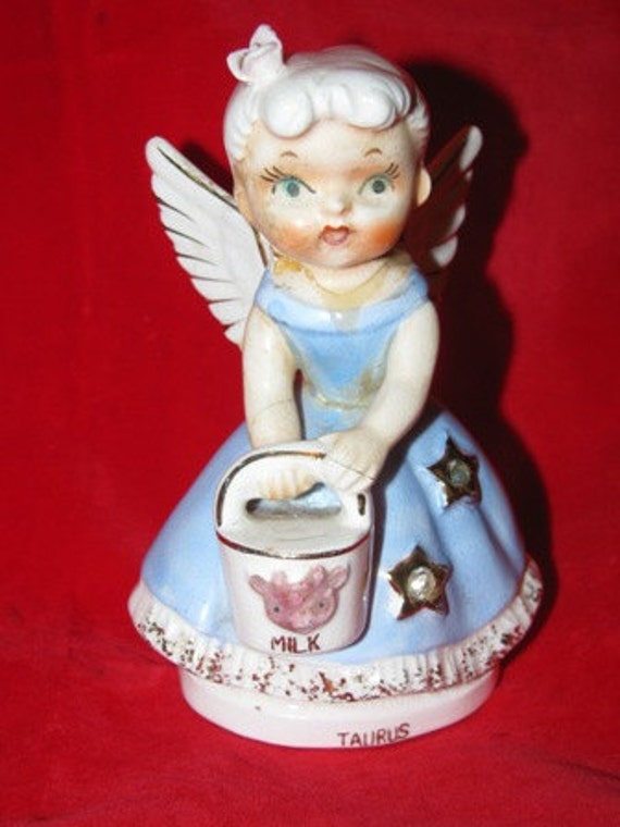 1950's Taurus Angel Figurine, Angel Wings, Made in Japan, Milk, Cow, Bucket