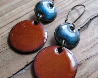 Blue and Orange Enamel Dangle Earrings, Chandelier Earrings, Copper nickel free kidney earwires