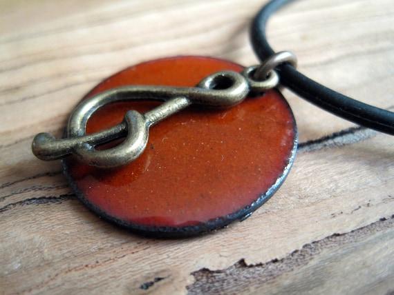 Clef note Orange Enamel on Copper Necklace Handmade Pendant
