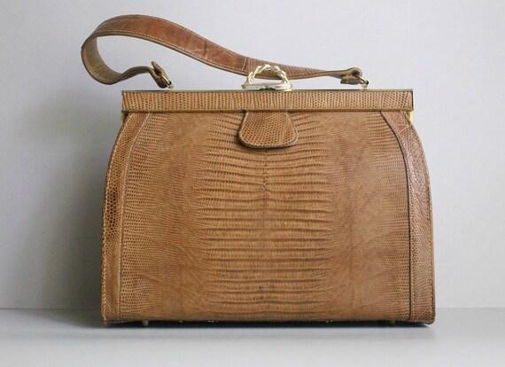 1950s Handbag / Vintage Handbag Purse / Lizard Bag / Vassar Handbag