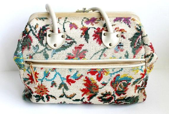 1960s Handbag / Vintage Handbag / Tapestry Bag / Oversize Kelly Bag