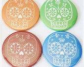 Pocket Mirror Colorful Sugar Skull Day of the Dead