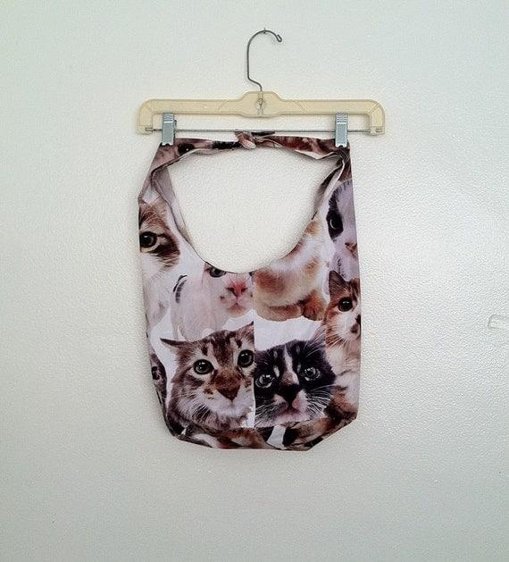 Whimsical Hobo Sling Bag Purse Cats Kitty novelty sack