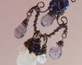 Iolite and Moonstone Pendant with Oxidized Silver