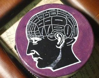 The Corridors of the Mind- Unique vivid purple altered art keppsake Pheronolgy diagram  trinket box