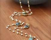 STUNNING Freshwater Pearl and Bezelled Labradorite Necklace- Gold Filled by Yania Creations