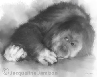 Original Art, 8x10, Orangutan, Monkey, Mama, Digital Watercolor