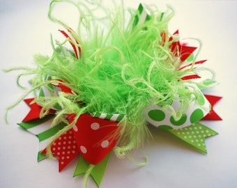 boutique LIME green and RED over the top hair bow on a headband