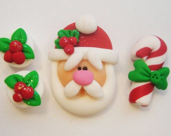 Mini Set wt Spacer -Santa - Polymer Clay Charm Bead Scrapbooking Embelishment Bow Center Pendant Cupcake Topper