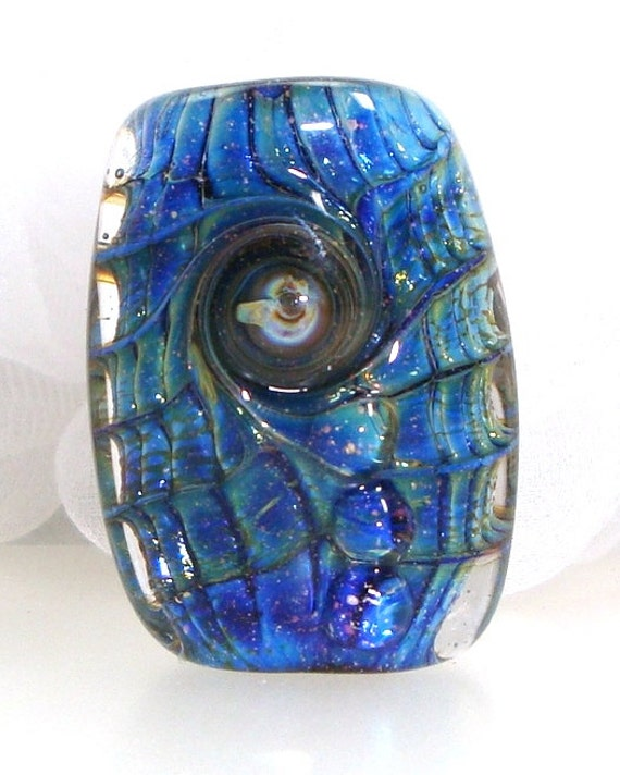 Handmade Lampwork Bead Aqua Marine Blue Green Teal Turquoise Cobalt Azure Lapis Sparkle Lamp Work Silver Glass Focal -- Beside Fountains