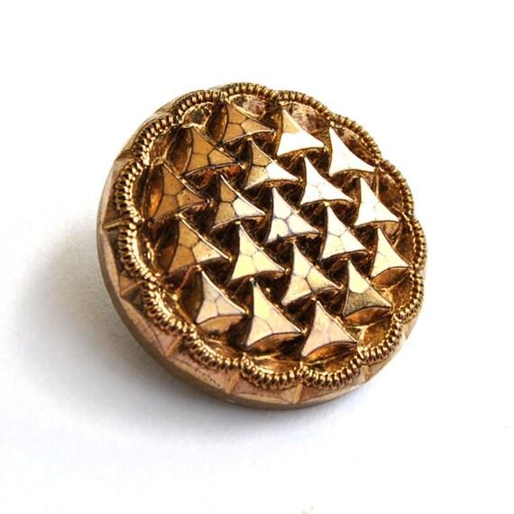 Antique Button Art Deco Black Glass Buttons Gold Luster  L1206