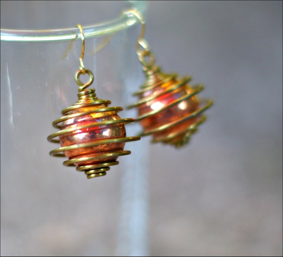 RESERVED Vintage Copper Bead Earrings - Brass Spring Cage