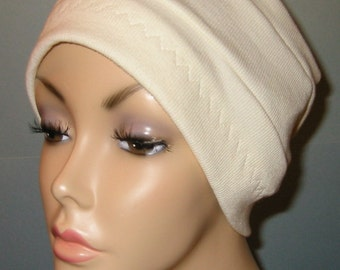 3-Band Cream  Chemo Hat, Hijab, Alopecia Cap
