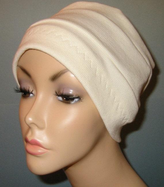 3-Band Cream  Chemo Hat, Hijab, Alopecia Cap