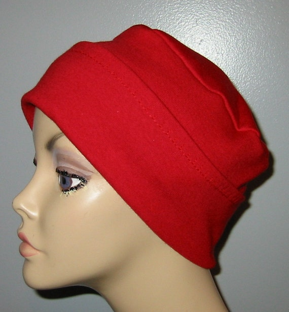 2-Way Red  Knit Chemo Cap, Cancer Hat, Alopecia, Modest Hat,