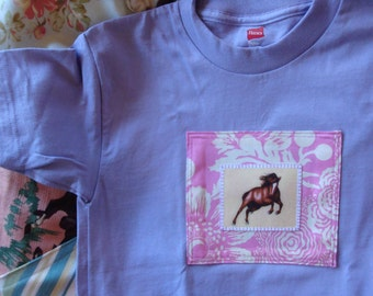 Prancing Pony Horse Tshirt in Lavendar purple pink girls size small 6 to 8
