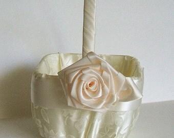 """Flower Girl Basket  """"ROSE"""" in Brocade Handmade Flowergirl White or Ivory"""