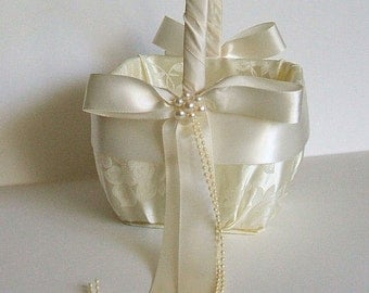 "Flower Girl Basket  ""GRACE"" in Satin Brocade Handmade Flowergirl White or Ivory"