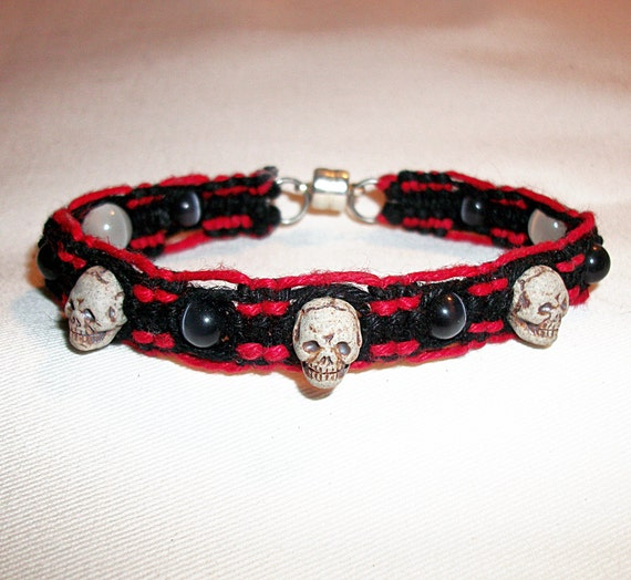 3 Skull Beads on Black and Red Hemp Bracelet with Glass and Stone beads - Hemp Jewelry