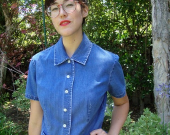 Vintage Denim Short-Sleeve Button-Up S