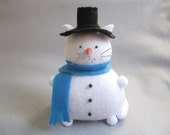 Snowman Cat Pincushion - White Cat - cute felt kitty cat snowman collectable - Gift for sewer - Gift for snowman lover - Sammy - MTO