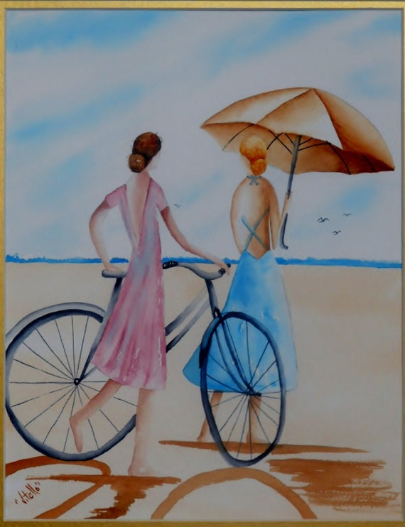 SALE Girls on Beach With Bicycles Watercolor SALE