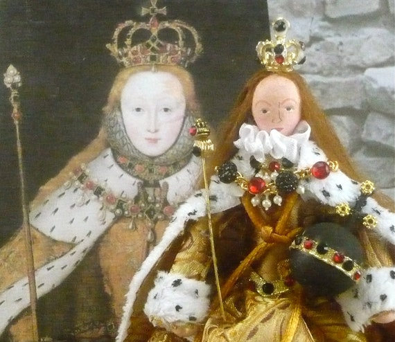 Queen Elizabeth l Doll on Coronation Day Historical Tudor Art Character