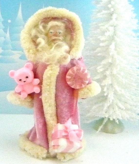 Pink Santa Clause Doll Art Miniature