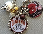 Football Necklace, Back To School- Personalized, Sports Number, Team Colors  - Football Mom, Helmet, School mascot, Baseball, bulldogs